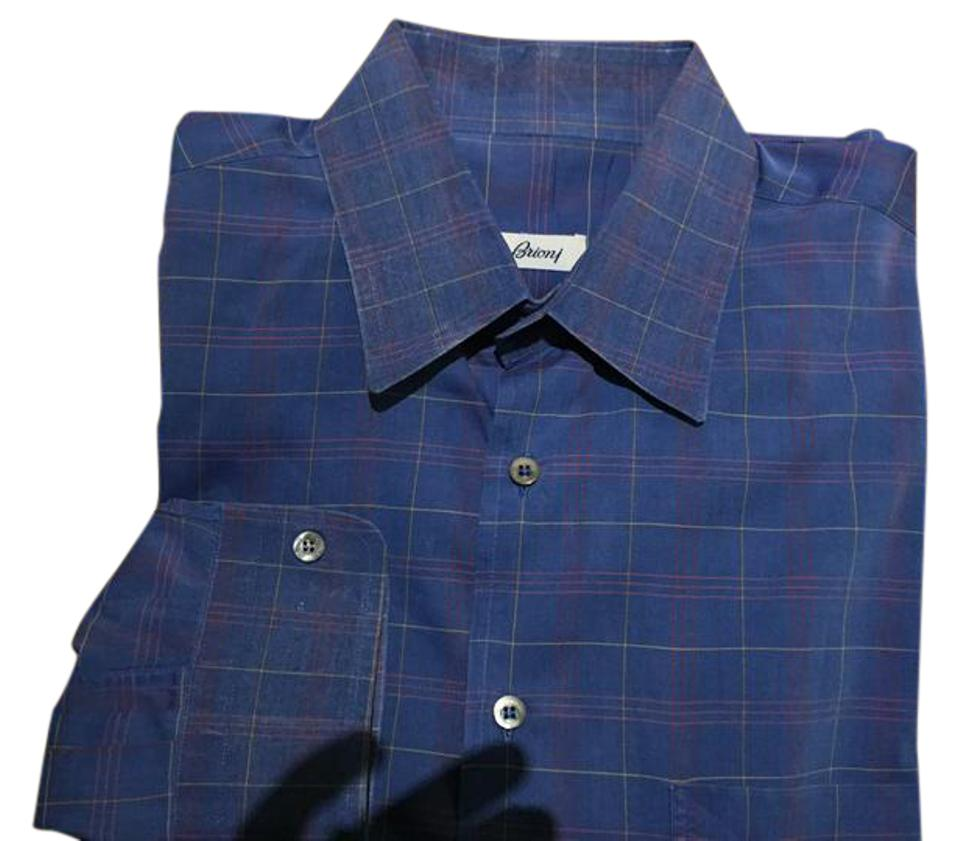 Brioni Blue Essential Windowpane Dress Made In Italy Shirt Tradesy