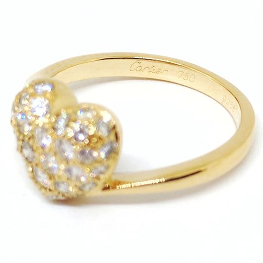 Cartier 18k Yellow Gold Pave Diamond Heart Ring