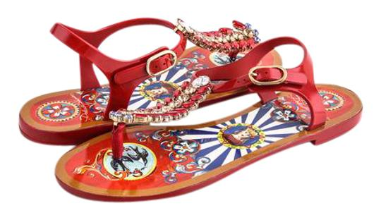 Preload https://img-static.tradesy.com/item/21558034/dolce-and-gabbana-carretto-siciliano-bejeweled-leather-rubber-flip-flop-bootsbooties-size-us-75-regu-0-2-540-540.jpg