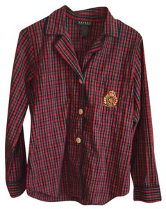 Lauren Ralph Lauren Button Down Shirt Red Plaid