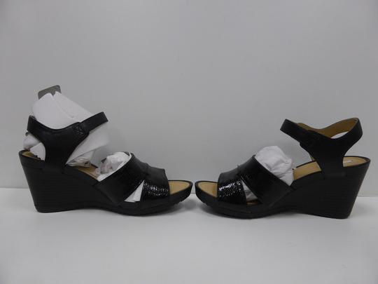 Geox Leather Sandals Black Wedges