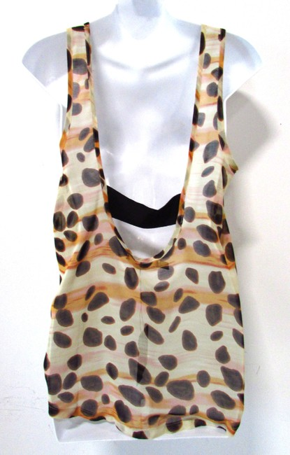 Patterson J. Kincaid Mixed Print Sheer Tank Tunic Top Multicolor