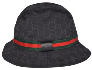 Gucci NEW GUCCI 200036 GG Guccissima Black Web Stripe Fedora Bucket Hat S 57