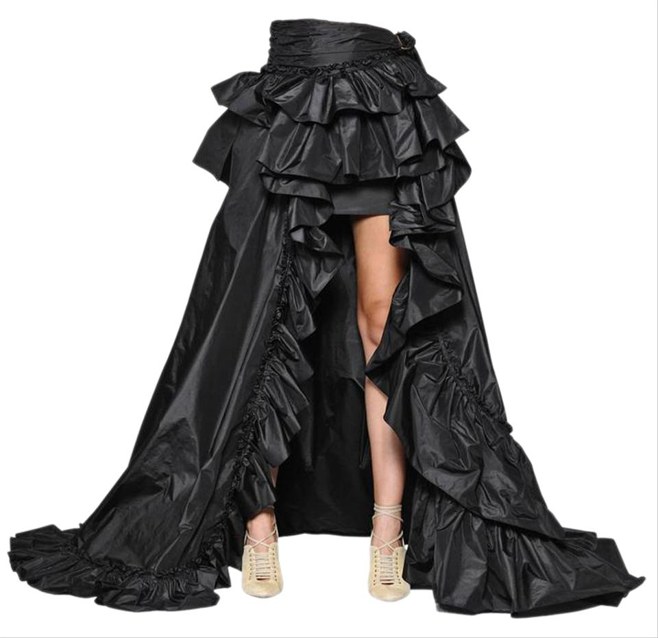 885809e505bc7 Roberto Cavalli Hi-lo High-low Train Ruffle Runway Skirt Black Image 0 ...