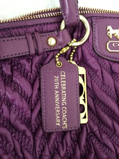 Coach Madison 70th Anniversay Sophia Nylon Satchel in Plum