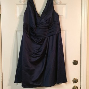 David's Bridal Navy Style F14823 Traditional Bridesmaid/Mob Dress Size 18 (XL, Plus 0x)