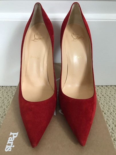 Christian Louboutin Suede Pointed Toe Red Pumps