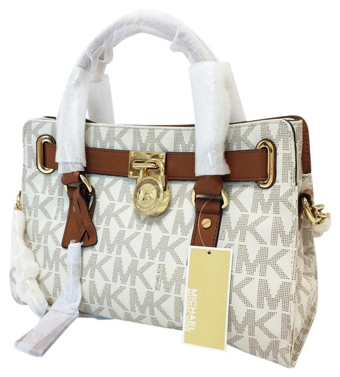 MICHAEL Michael Kors Hamilton Pvc Leather Trim Monogram Satchel in Vanilla