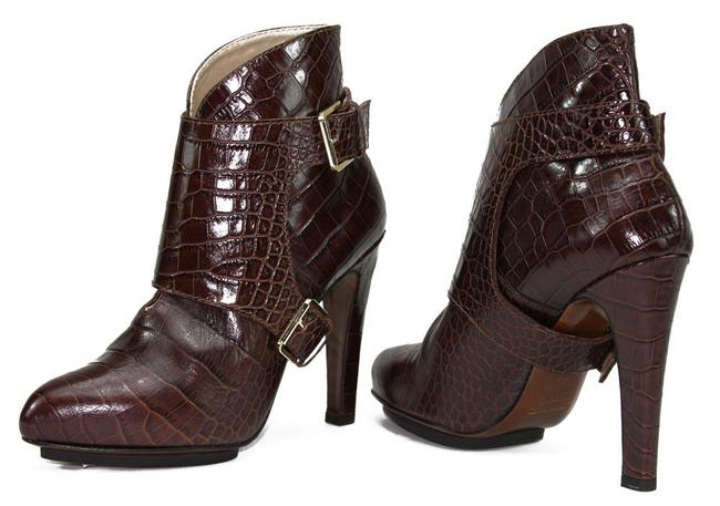 Item - Brown Crocodile Print Ankle Boots/Booties Size US 7 Regular (M, B)