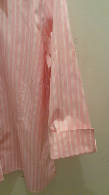 Lands' End Button Down Shirt Pink/White Stripe