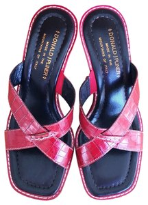 Donald J. Pliner Moc Croc Viru Italy Open Toe Red Sandals