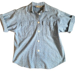 Diane von Furstenberg Button Front Vintage Chambray Printed Short Sleeve Button Down Shirt Blue, White