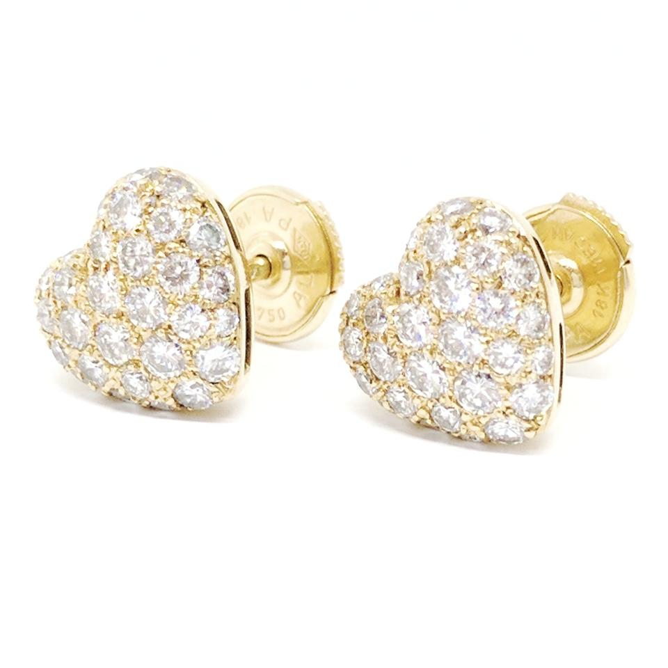 Cartier 18k Yellow Gold Diamond Heart Earrings