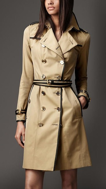 Burberry Gold Belted Logo Sale Trench Coat