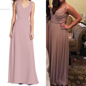 Alfred Angelo Rum Pink Dusty Rose Blush Mauve Taupe Chiffon Style # 7359l Formal Dress Size 6 (S)