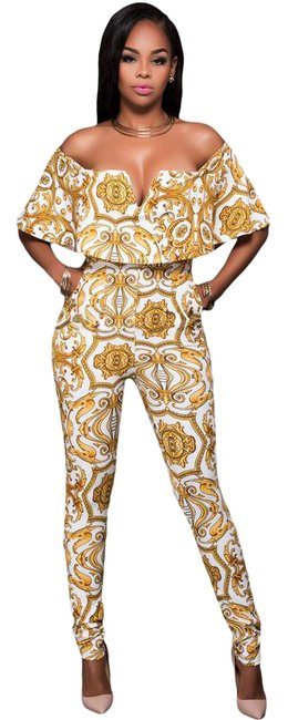 Preload https://img-static.tradesy.com/item/21559087/gold-and-white-jumpsuit-pant-suit-size-8-m-0-2-650-650.jpg