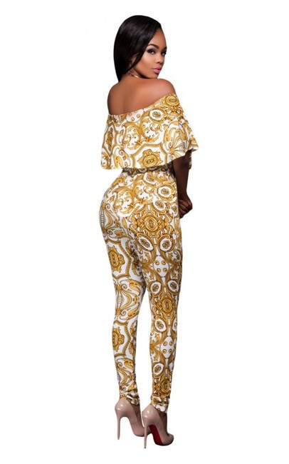 A&B White & Gold gorgeous Jumpsuit