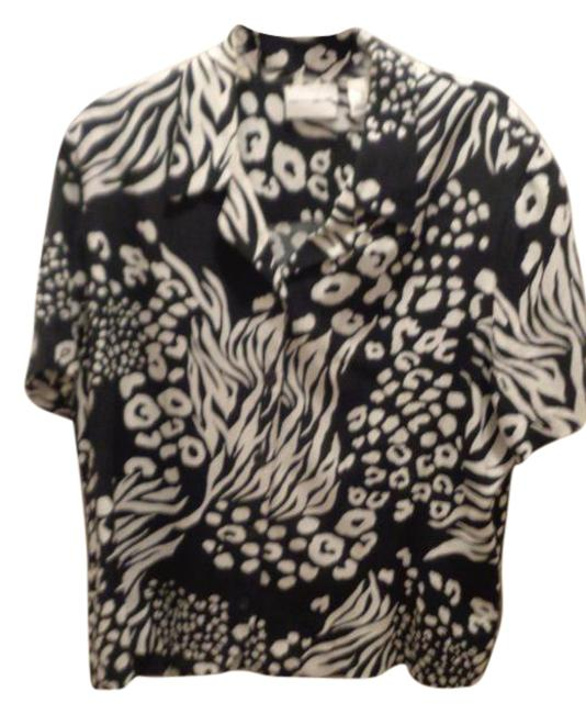 Alfred Dunner Button Down Shirt Black/white