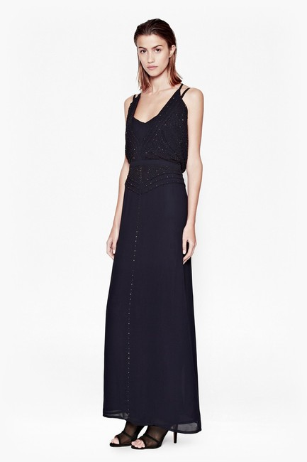 French Connection Chic Beaded Maxi Evening Holiday Gown Dress