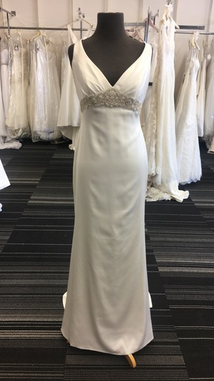 Casablanca Ivory Perfecting Satin 2200 Destination Wedding Dress Size 6 (S)