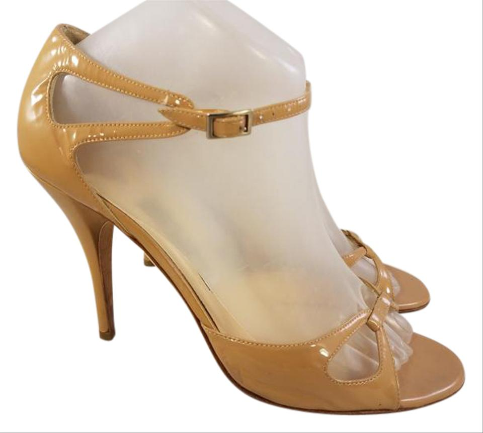 top quality factory outlets release info on Jimmy Choo Beige Patent Leather Mary Jane Opentoe Ankle Strap ...