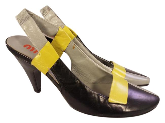 Item - Yellow Lime Gray and Black By Prada Slingback Multicolors Pumps Size US 5.5 Regular (M, B)