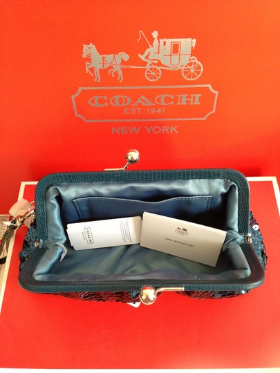 Coach SILVER/TEAL Clutch