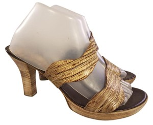 Furla Made In Italy Snake Pattern Slides beige and brown Sandals