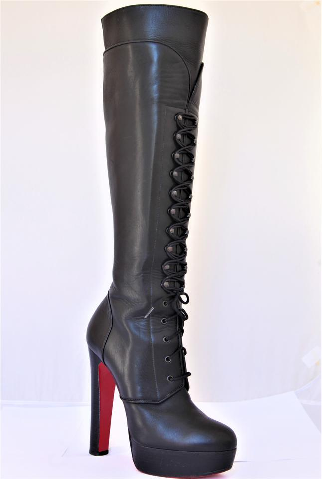 df0e2dbcd39c Christian Louboutin Black Nardja Leather Platform Knee High Heel Lady  Fashion Red Lace Up 38 It Boots Booties Size US 7.5 Regular (M