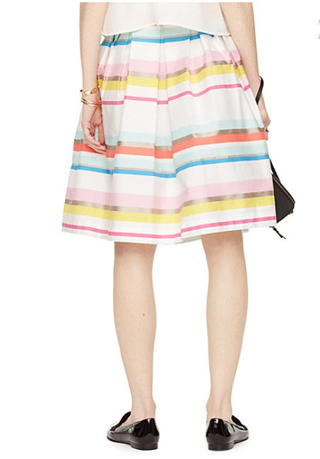 Kate Spade Aline Stripes Summer Pleated Skirt Multi Color