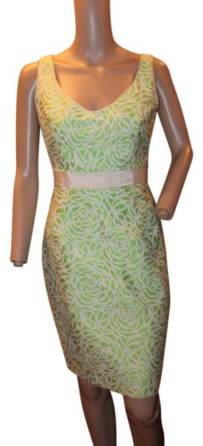 Preload https://item5.tradesy.com/images/maggy-london-green-sexy-fitted-brocade-short-workoffice-dress-size-6-s-21559589-0-2.jpg?width=400&height=650