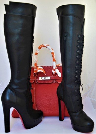 Christian Louboutin High Heels Otk Pigalle Ankle Over The Knee Black Boots
