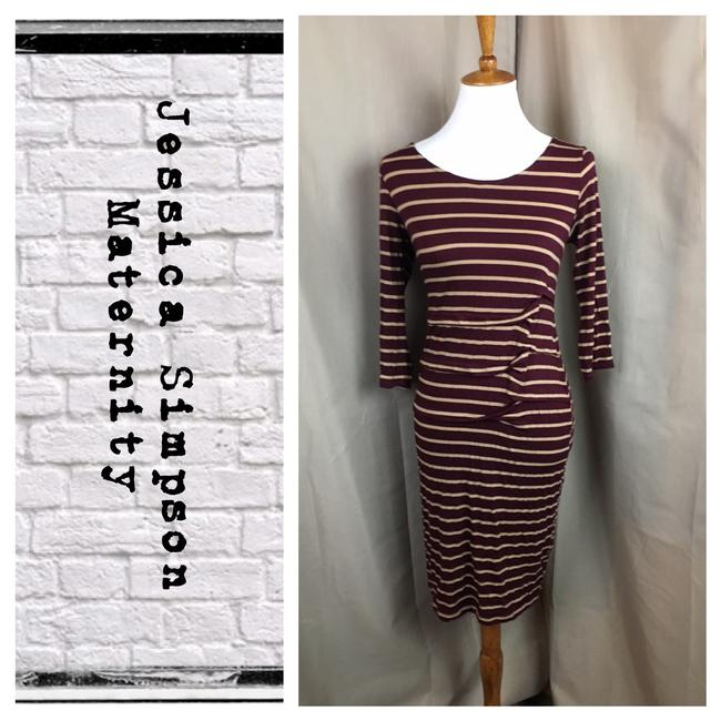 Preload https://item5.tradesy.com/images/jessica-simpson-maroontan-striped-maternity-soft-cotton-mid-length-workoffice-dress-size-6-s-21559614-0-1.jpg?width=400&height=650