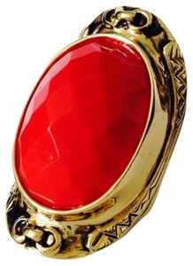 Other Embellished by Leecia Faceted Red Resin & Gold Statement Ring, Size 6 & 6.5