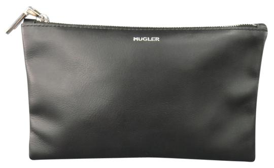 Thierry Mugler Black Leather Silver Logo Zip Pouch