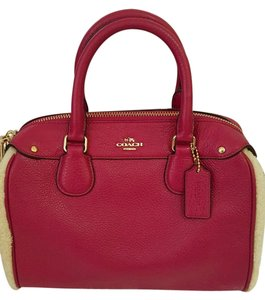 Coach Leather Bennett Crossbody 36689 Satchel in Cranberry/Natural