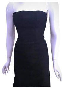 Theory Pencil Suede Leather Strapless Dress
