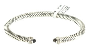 David Yurman DAVID YURMAN 5MM STERLING SILVER DIAMOND & SMOKEY QUARTZ CLASSIC CABLE CUFF BRACELET