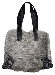 Lisa Nieves Faux Leather Faux Fur Silver Casual Formal Shoulder Bag