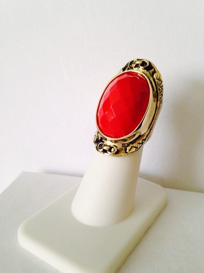 Other Embellished by Leecia Faceted Red Resin & Gold Statement Ring, Size 6