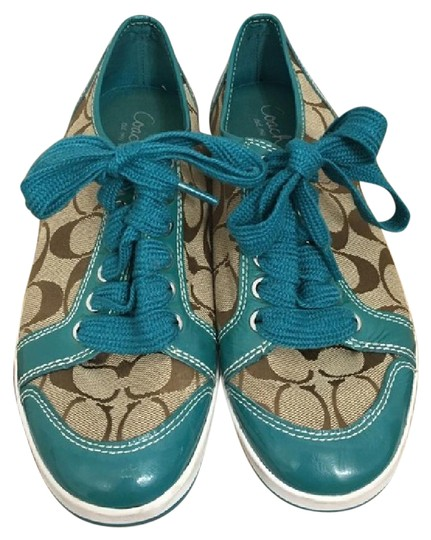 Preload https://item3.tradesy.com/images/coach-blue-and-cream-turquoise-logo-sneakers-flats-size-us-85-regular-m-b-21560127-0-2.jpg?width=440&height=440
