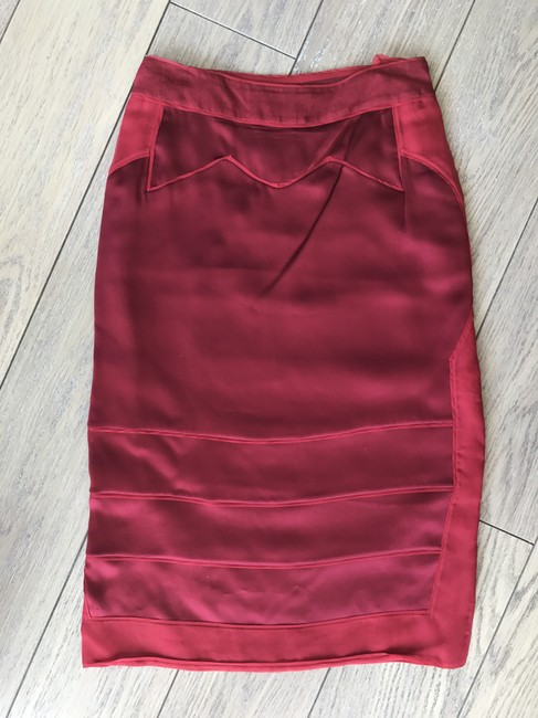 Saint Laurent Silk Chiffon Mini Skirt Red