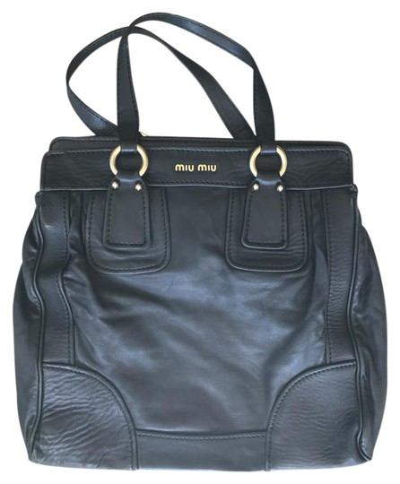 Miu Miu Leather Gold Hardware Tote in black