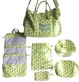 Vera Bradley Limited Edition Set Retired Print Green & Blue Paisley Travel Bag
