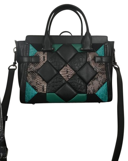 Preload https://item3.tradesy.com/images/coach-swagger-black-green-nubuck-leather-satchel-21560372-0-1.jpg?width=440&height=440