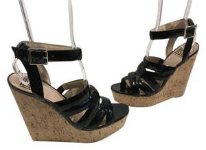 Pour La Victoire Ankle Make an offer Black patent leather strappy caged leather lining leather soles cork base open toe high Wedges