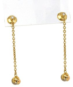Cartier Diamonds 18k Tri-Color Gold Love Knot Long Drop Dangle Earrings