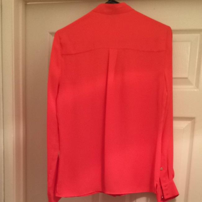 bebe Button Longsleeve Resort Designer Buttondown Top Bright Orange