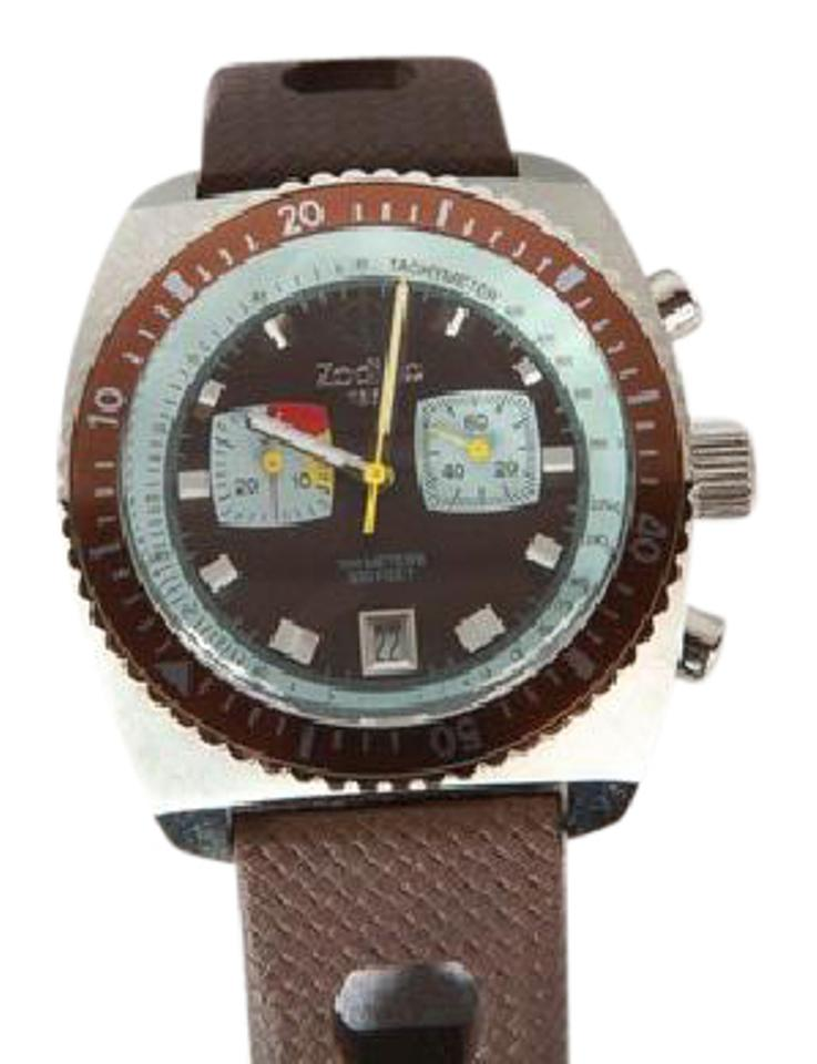 Ebel Brown Band Silver Case And Brown Face And Bezel Zodiac In Sea Dragon Zs2236 On Mens Watch