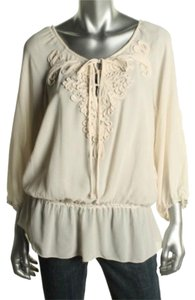 Studio M Peplum M Womens Ivory Shirt Top Oyster